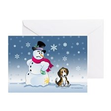 Beagle dog and Snowman Greeting Cards (Pk of 20)