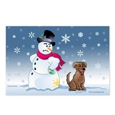 Snowman and chocolate Lab dog Postcards (Package