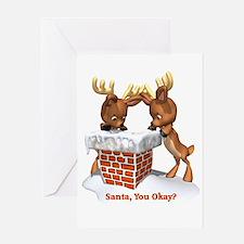 Funny Santa You Okay Greeting Card