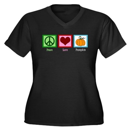 Peace Love Pumpkin Women's Plus Size V-Neck Dark T