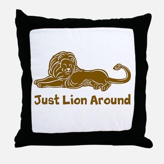 Lion Around (brown) Throw Pillow