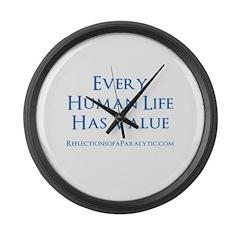 Human Life Has Value Large Wall Clock