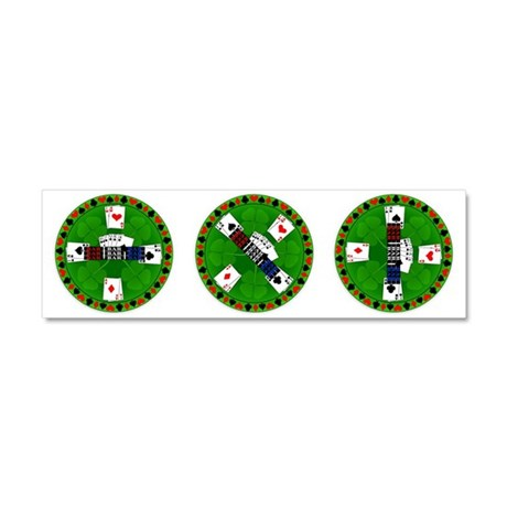 Roll the Casino Chips Car Magnet 10 x 3