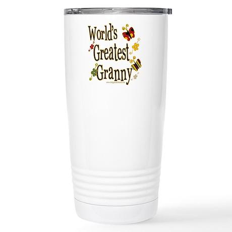 Granny Butterflies Stainless Steel Travel Mug