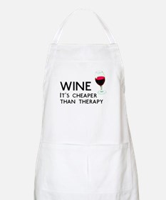 Wine Cheaper Than Therapy Apron