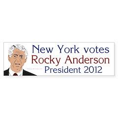 New York for Rocky Anderson bumper sticker