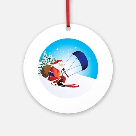 Santa Snowkite Ski Round Ornament