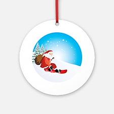 Santa Snowboard Ornament (Round)