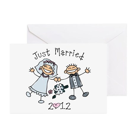 Stick Just Married 2012 Greeting Cards (Pk of 20)