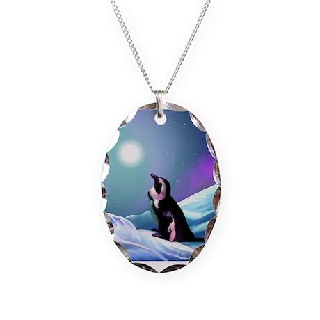Contemplative Penguin Necklace Oval Charm