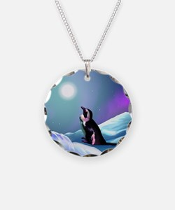 Contemplative Penguin Necklace Circle Charm