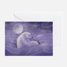 Polar Bear and Cub Wildlife Fantasy Greeting Card