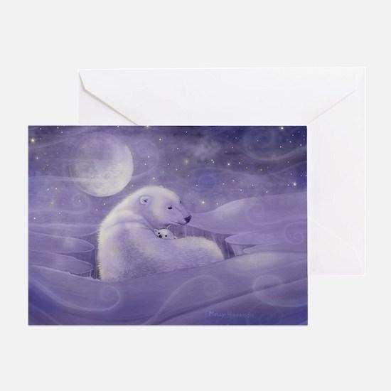 Polar Bear and Cub Wildlife Fantasy Greeting Card