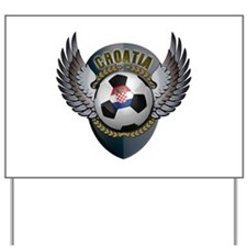 Croatian soccer ball with crest Yard Sign