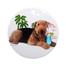 Airedale at the Beach by Vampire Dog Ornament (Rou