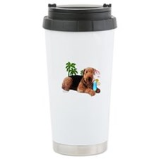 Airedale at the Beach by Vampire Dog Travel Mug