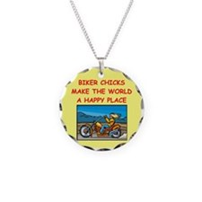 biker chicks Necklace Circle Charm