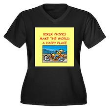biker chicks Women's Plus Size V-Neck Dark T-Shirt