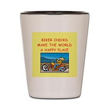 biker chicks Shot Glass