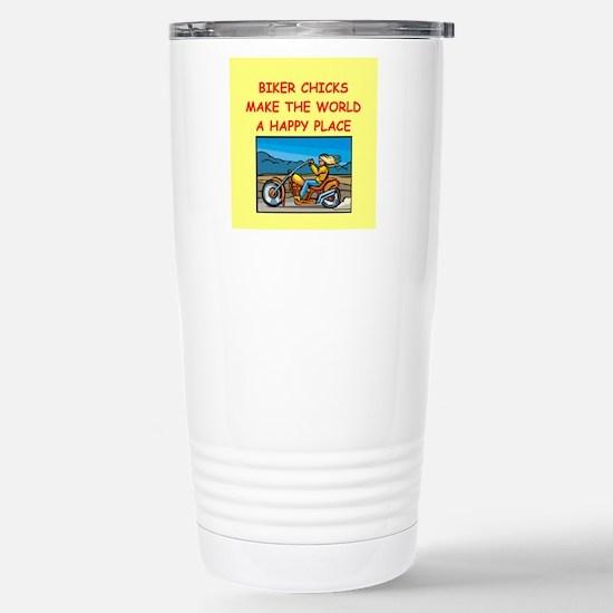biker chicks Stainless Steel Travel Mug