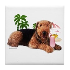 Airedale at the Beach by Vampire Dog Tile Coaster
