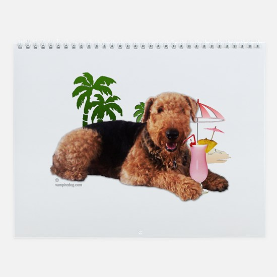 Airedale at the Beach by Vampire Dog Wall Calendar