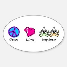 Peace Love and Twins Oval Decal