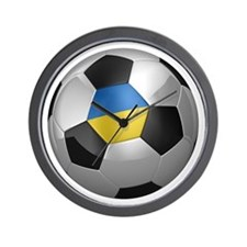 Ukrainian soccer ball Wall Clock