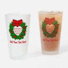 Add Your Own Text Wreath Drinking Glass