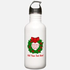 Add Your Own Text Wreath Water Bottle