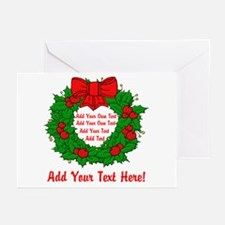 Add Your Own Text Wreath Greeting Cards (Pk of 20)