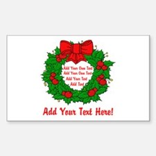 Add Your Own Text Wreath Sticker (Rectangle)
