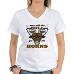 Messed With The Bull Women's V-Neck T-Shirt