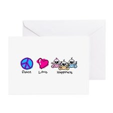 Peace Love and Triplets Greeting Cards (Package of