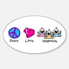Peace Love and Triplets Oval Decal