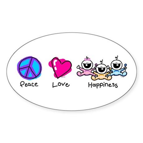 Peace Love and Triplets Oval Sticker
