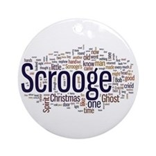 Scrooge Christmas Carol Word Art Ornament (Round)