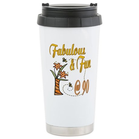Floral 90th Stainless Steel Travel Mug