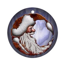 Harvest Moon's Wooden Santa Ornament (Round)
