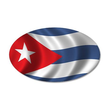 Flag of Cuba 38.5 x 24.5 Oval Wall Peel