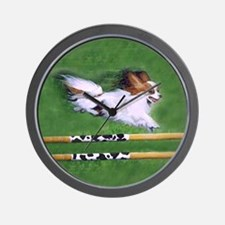 Red Sable Papillon in Agility Wall Clock