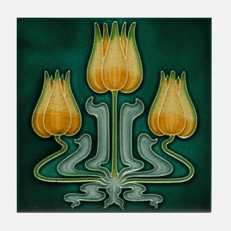 Three Yellow Tulips Tile Coaster