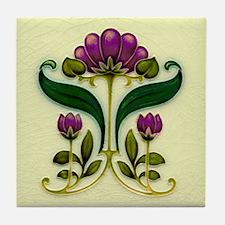Simple Purple Flower Tile Coaster