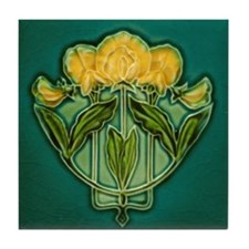 Art Nouveau Snow Peas Tile Coaster
