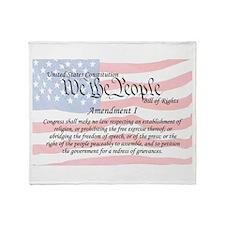 Amendment I and Flag Throw Blanket