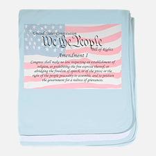 Amendment I and Flag baby blanket