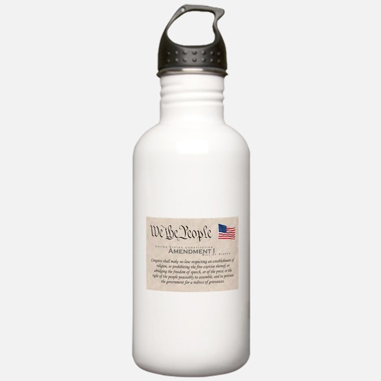 Amendment I w/Flag Water Bottle