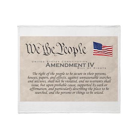 Amendment IV w/Flag Throw Blanket