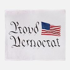Proud Democrat w/Flag Throw Blanket