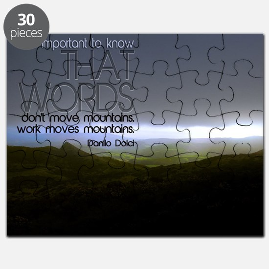 Work Moves Mountains Quote on Jigsaw Puzzle